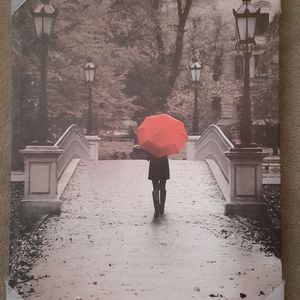 Girl with Red Umbrella Wrapped Canvas Print